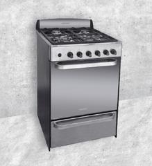 Cocina a gas 56 cm. LLANOS FULL INOX 33393. Espejada. Multigás. Rejillas Fundición. Luz / Encendido / Timer /Horno autolimpiante.