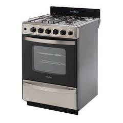Cocina a gas 56 cm. WHIRLPOOL WFX57DW Inoxidable Encendido / Rejillas Esmaltadas / Timer / Luz. Multigás
