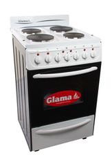 Cocina eléctrica 54,5 cm. GLAMA E-4HPVB. Blanca. Luz, timer y horno autolimpiante.
