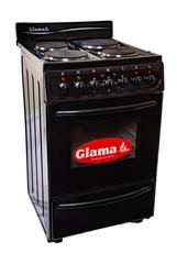 Cocina eléctrica 54,5 cm. GLAMA E-4HPVN. Negra. Luz, timer y horno autolimpiante.