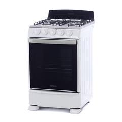 Cocina a gas 55 cm. PATRICK CP6855B. Blanca. Cubierta inoxidable. Luz y encendido. Multigás