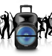 "Parlante inalámbrico 12"" CROWN MUSTANG DJS-1201BT. 2 vías. Bluetooth. USB / Luces LED / FM. Batería recargable. 12000W PMPO."