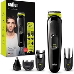 Corta cabello / corta barba inalámbrico 6 en 1 BRAUN MGK3221. Cabezal para bello de nariz y orejas.