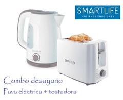Combo desayuno SMARTLIFE Pava eléctrica SL-EK1714W + Tostadora SL-TO1301W