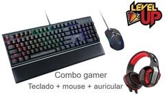 Kit gamer LEVEL UP Teclado mecánico + mouse óptico Pegasus + Auriculares Rattlesnake.