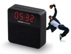 Parlante portátil inalámbrico CROWN MUSTANG WAKE BT. Bluetooth. Con reloj despertador.