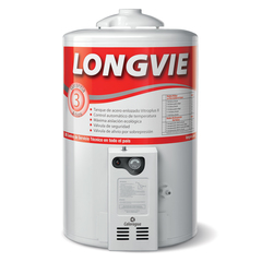 Termotanque a gas 50 lts. de pie LONGVIE T3050PF Blanco. Conexión Superior. Multigás