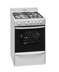 Cocina a gas 60 cm. LONGVIE 19601B. Blanca. Rejillas de fundición. Con grill, luz, encendido, timer y termostato. Quemador doble corona. EE A