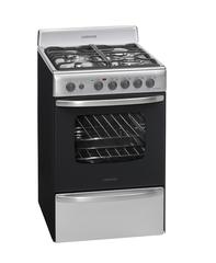 Cocina a gas 60 cm. LONGVIE 19601X Ac. Inoxidable Rej. fundición con Grill / luz / encendido / timer / termostato EE A