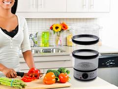 Vaporera eléctrica 7,5 lts. SMART TEK SD2091 Con accesorios para sopa y arroz. 400W